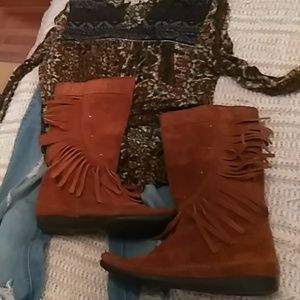 Genuine Suede Moccasin Boots
